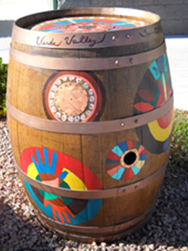 Credit Union West, Farmer's Insurance, Edward Jones Investments Painted Barrel
